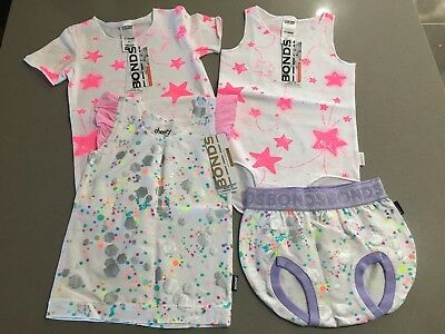 Bonds Baby Girl Pack of 4 Items (SUMMER GLITTER WONDERBODIES STAR) BNWT Size 1