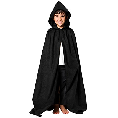 Black Cloak Cape w/ Hood for Kids 8-10 Yrs Wizard Witch Ghost Costume Halloween