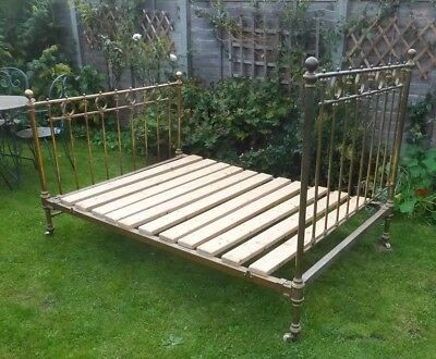 Antique Victorian Brass & Iron bed frame Vtg Double bedstead