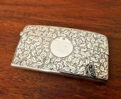 Antique Sterling Silver Curved Card Case by Maker Minshull & Latimer 1896