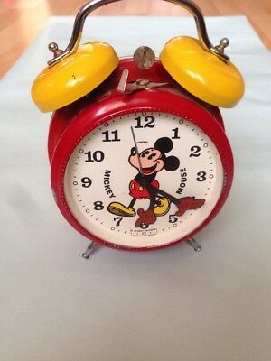 Avronel  mickey mouse alarm clocK 60's Missing Alarm And Time Setting Knobs