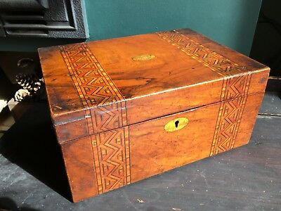Antique Wooden Marquetry Inlaid Writing Slope Box TLC Stationary Storage Display