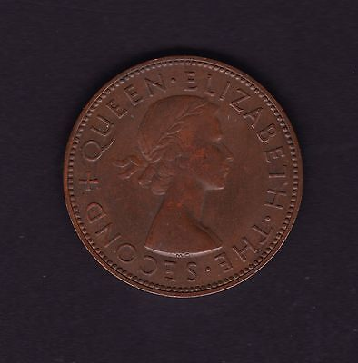 New Zealand 1956 Without Shoulder Strap Penny Coin