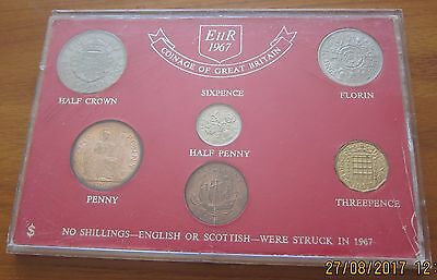 BRILLIANT UNC 1967 COINAGE OF GB SET OF 6 UNC COINS  50th ANNIVERSARY GIFT (L1)