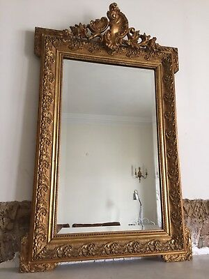 Antique French Louis XV Crested Mirror - Bevelled Glass