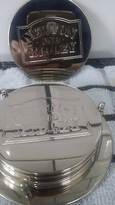 newton & ridley Set of 6 Vintage Silver Plated Coasters with Holder