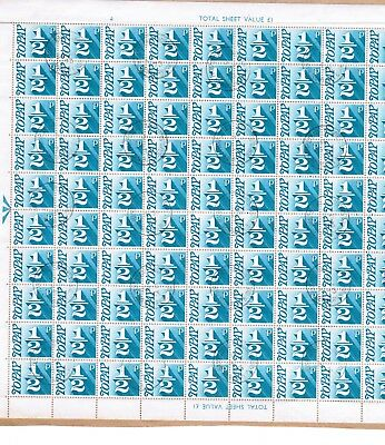 Great Britain Half Pence Postage Due block of 100 fine used