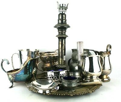 Antique Vintage Silver Plate Job Lot Collection Items Lamp Base Tankards Etc
