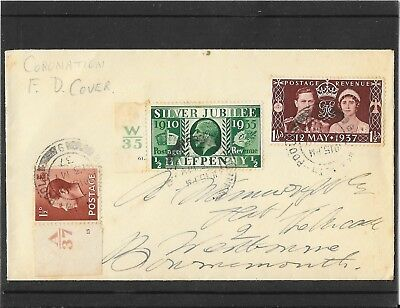 1937 GB  CORONATION  First Day Cover- Poole Cancel- with 2 control stamps