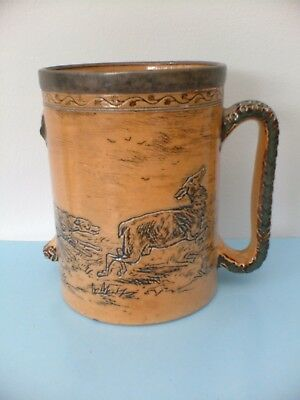 Damaged Hannah Barlow Silver topped Loving Cup Study Or Restoration Dog Chase