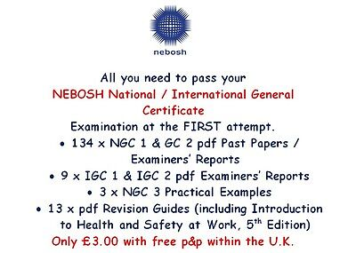 143 nebosh GENERAL Certificate NGC1, 2 & 3 Papers/Reports Practical Exam x 3