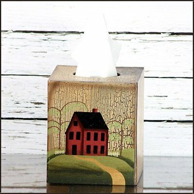 Tissue Box Cover - Primitive House / Home with Weeping Willow Tree - Perfect
