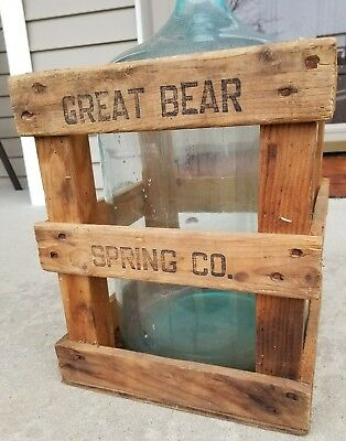 Vintage Great Bear Spring Co. Original Wood Crate With 5 Gallon Water Bottle Jug
