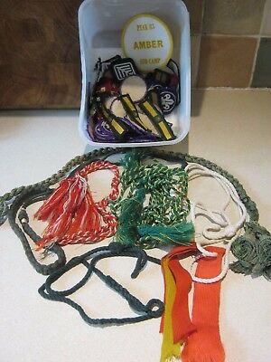 Collection of 80 Boy Scout badges plus vintage lanyards
