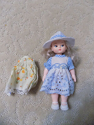 Vtg Jointed Rooted Hair blonde Vinyl Doll in Dress Hat & Apron Hong Kong toy  78