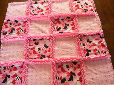 Baby Rag Quilt~Or Dog Blanket~Hrts And Scotty Dogs~Handmade
