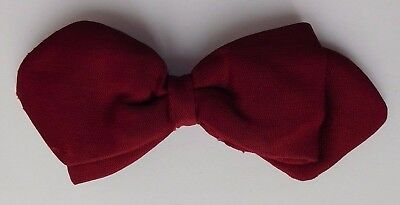 Red Tenax bow tie vintage 1960s English ready tied clip on small split in back