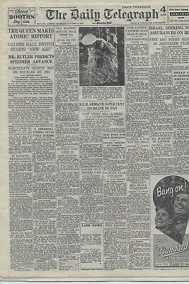"""MINIATURE """"DAILY TELEGRAPH """"(NOT DOLLS) - 18th. OCTOBER 1956.  """"ATOMIC HISTORY"""""""