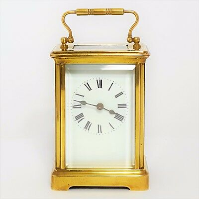 Antique French Brass Corniche Cased Carriage Clock c1900 - Excellent Condition
