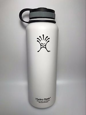 White 40oz Hydro Flask Insulated Stainless Steel Water Bottle Wide Mouth New