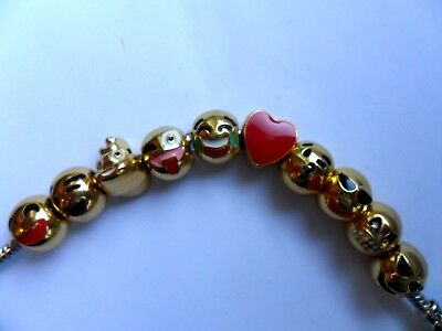 Ten Cute  Gold Plated Emoji Charms to Fit European Bracelets