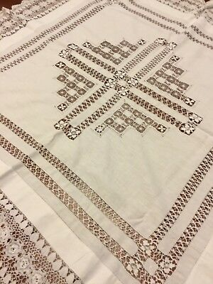 Vintage Irish Linen And Hand Crocheted Lace Tablecloth