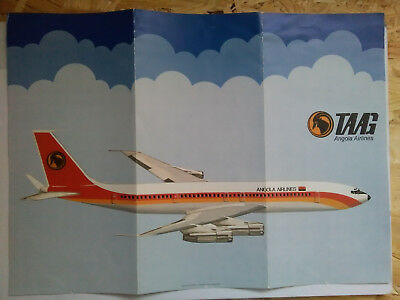 TAAG Angola Airlines Boeing 707 information broschure/ Faltblatt Airline issue