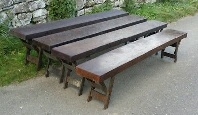 LOVELY OLD VINTAGE RUSTIC FOLDING SCHOOL BENCH (4 available) C W Norris 1950 6FT