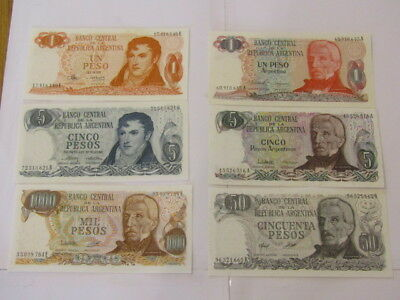 6 Banknotes from Argentina all UNC
