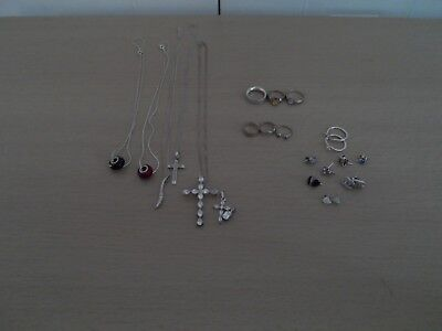 Job Lot 925 Silver Jewellery - Necklaces - Earrings - Rings - Toe Rings - Pendan