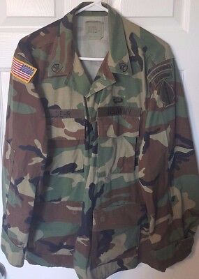 Vintage Us Army Woodland Camo Shirt Special Forces Patch Named