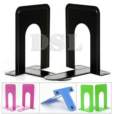 "2 Pair BLACK Heavy Duty Metal Book Ends 7"" Home Office Stationery Base Protector"