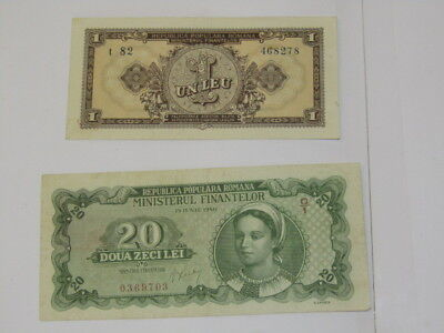 2 Banknotes from Romania