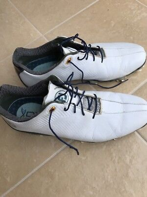 Footjoy Fj Dryjoy Dna Men's Leather Golf Shoes Size 10.5 Cleats White Blue 53437