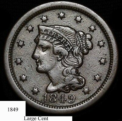 1849 Braided Hair Large Cent  - High Grade - Great Rims - Eye Appeal