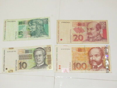 4 Banknotes from Croatia,