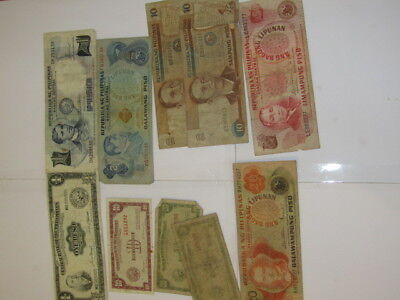 10 Banknotes from Philippines, various conditions