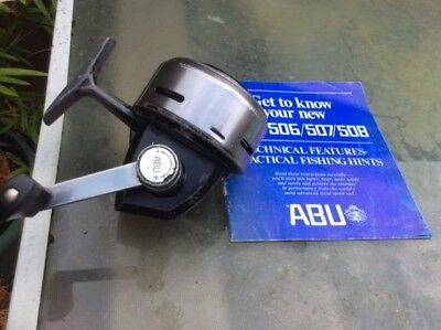 Swedish Abu 508 classic vintage closed face fishing reel + paperwork
