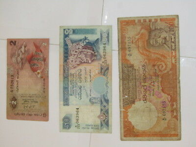 3 Banknotes from Sri Lanka,