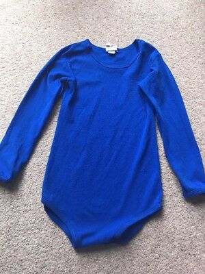 Vintage Blue Leotard 100% Nylon 60s 70s Age 9-12