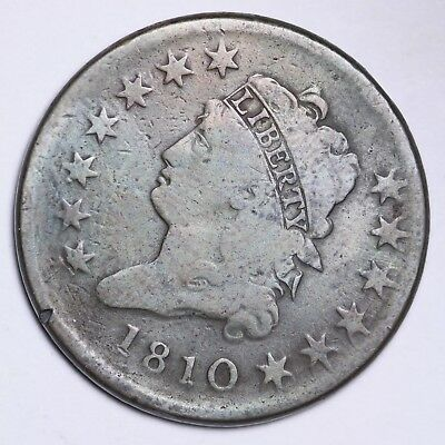 1810 Classic Head Large Cent CHOICE VG FREE SHIPPING E100 ALT