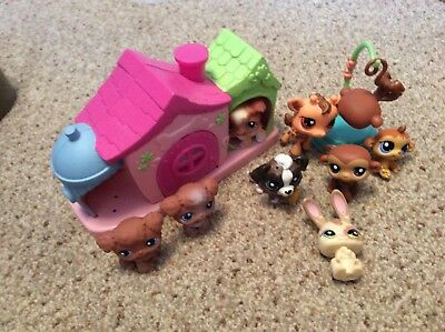 Collection of Littlest Pet Shop Figures with Kennel - Dogs, Monkeys, Giraffe
