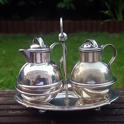 Beautiful Antique Silver Plate Salt & vinegar On Stand