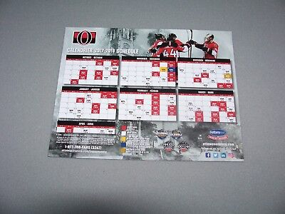 2017-18 Ottawa Senators NHL Hockey Magnet Schedule (team issued)