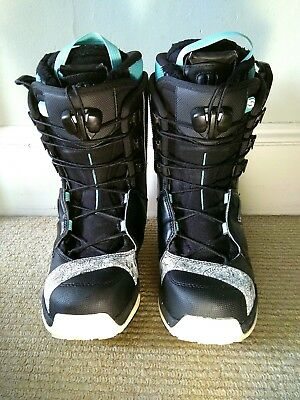 Salomon F20 Ladies Snowboard Boots, Black/white/blue - Size 6, good condition