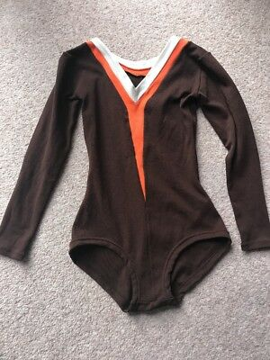 Vintage Leotard Long Sleeve Brown Orange White Nylon 60s 70s
