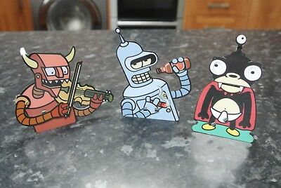 Rare FUTURAMA Metal Clicker Click Toy x 3 Vintage 2001 by FOX ROCKET
