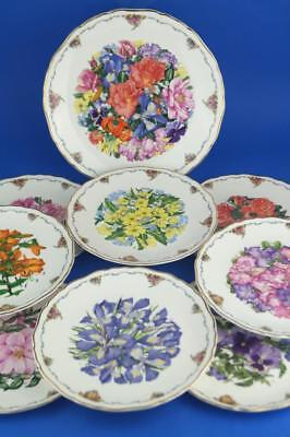 ROYAL ALBERT Full Set of 9 QUEEN MOTHER'S FAVOURITE FLOWERS 8 + Finale Plates
