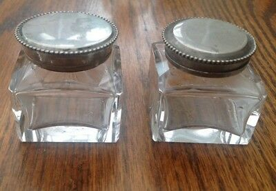 ORIGINAL ANTIQUE 1800s SQUARE GLASS INKWELLS for WRITING SLOPE BOX Screw Lids VG
