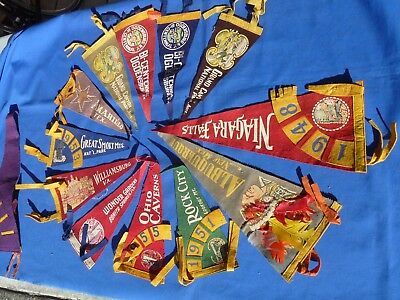 Lot 23 Vintage Felt Pennants 1940's - 50's Souvenir Travel Alaska Fort Ancient